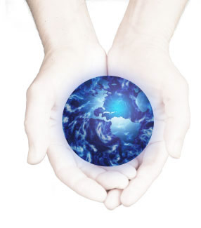 image: hands and globe